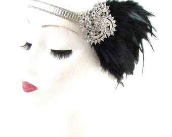 Black Silver Feather Headpiece 1920s Headband Flapper Great Gatsby Vintage 608