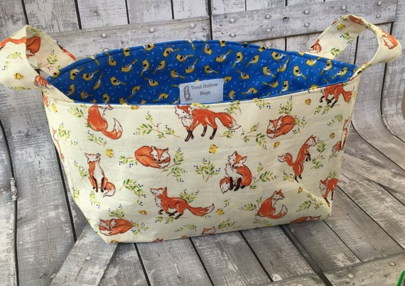 Yarn Basket-Foxes frolicking, Toad Hollow Bags,Fabric Yarn Bowl,Yarn Storage,Gift for Knitters,Crochet Basket,Knitting,Diaper Caddy