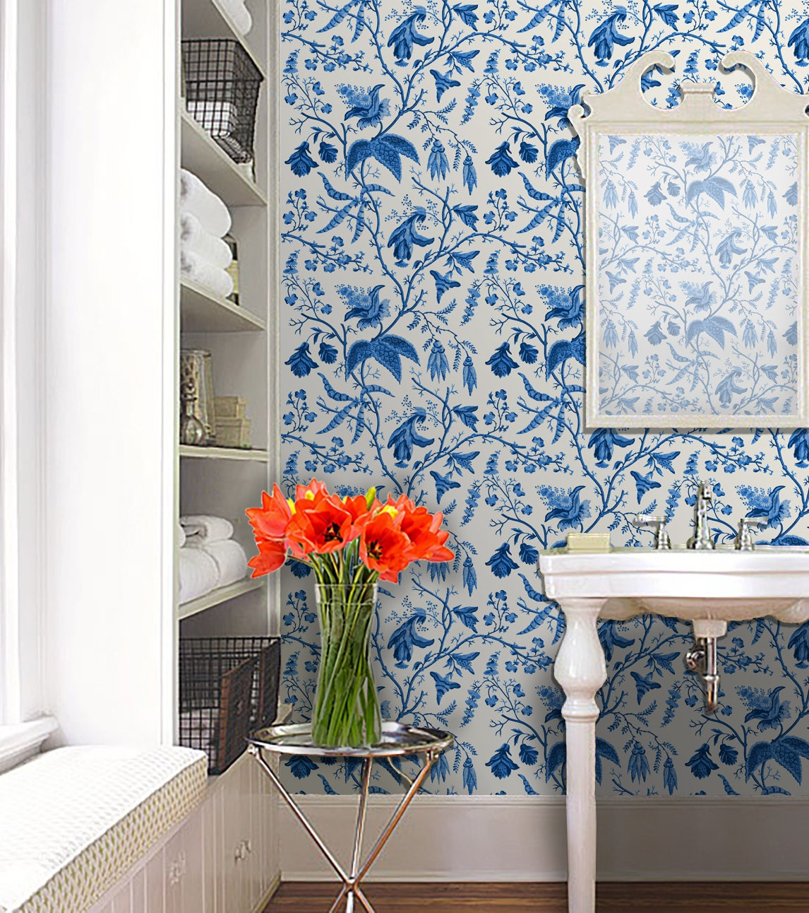 chinoise blue repositionable peel 39 n stick wallpaper. Black Bedroom Furniture Sets. Home Design Ideas