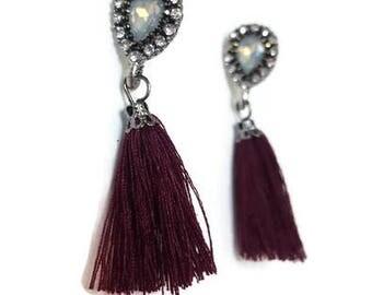 Burgundy Earrings - Small Tassel Earrings - Tassel Earrings - Small Dangle Earrings - Dangle Earrings - Boho Tassel Earrings - Earrings Boho