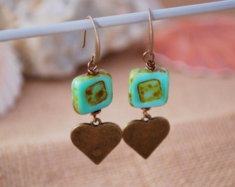 Rustic bohemian earrings, Teal square boho earrings, unique everyday simple earrings, heart love jewelry, tribal earrings