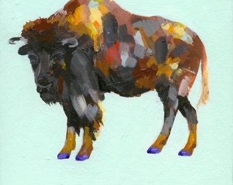 "7X7"" Party Buffalo Print, Buffalo Art, Art Prints, Wall Art Prints, Woodland Animals, Buffalo Painting, Shoe Lover, Archival Print, Buffalo"