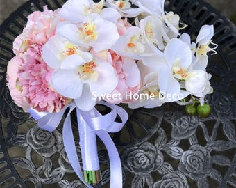 JennysFlowerShop 11''W Silk Peony Real Touch Orchid Artificial Wedding Bridal Bouquet Boutonniere in Pink White