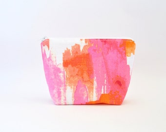 Cosmetic Bag, Zipper Pouch, Makeup Bag, Makeup Pouch, Cosmetic Pouch, Toiletry Bag - Orange & Pink Watercolour