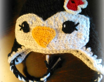 Penguin Earflap Beanie - Boy or Girl Penguin Hat - Super Soft, Thick & Warm - Optional Braids