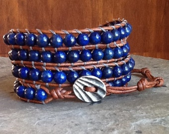 Lapis Lazuli 4 Wrap Leather Ladder Bracelet