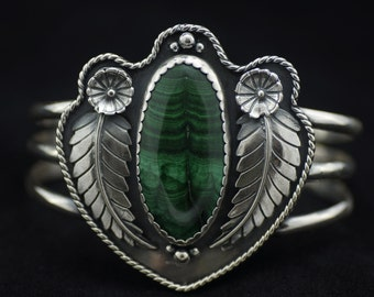 Deep Forest - Malachite and Sterling Silver Cuff Bracelet