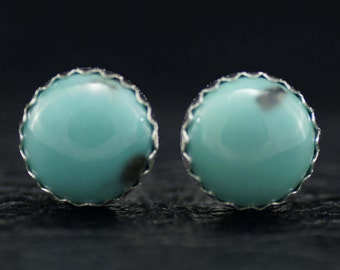 8mm Blue Campitos Turquoise and Sterling Silver Stud Earrings