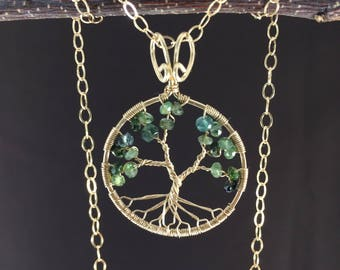 Green Tourmaline Tree-Of-Life Necklace Gold Tree of Life Wire Wrapped Shades of Greenery October Birthstone Virgo Libra Chakra Anniversary