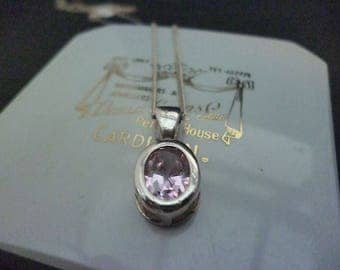 A stunning sparkly pink pendant necklace - 925 - sterling silver - 16""