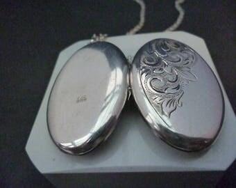 "A large vintage silver locket pendant necklace - 925 - sterling silver - Long vintage chain - 2.2"" x 1.2"" - 22"" necklace - Full UK Hallmark"