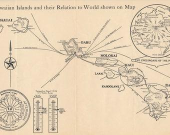1930 Hawaii Antique Map