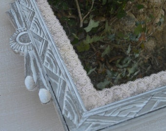 French recycled  vintage rectangular mirror art deco shabby chic