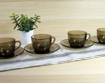 4 cups and saucers Vereco smoked brown glass | Tableware Made in France 1960