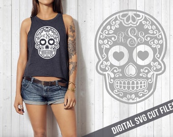 PERSONALIZED Sugar Skull SVG Cutting File Vinyl Cutting Decal for Wine Glass TShirt Mug SVG files Silhouette Cameo Cut Files Svg Cut Files