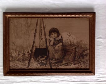 Antique Print of a Young Witch and Faeries