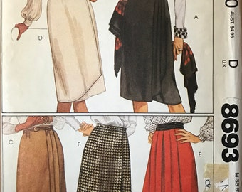 McCalls 8693 - 1980s Wrap Skirt with Pleat Details - Size Extra Small