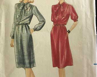 Butterick 3932 - 1980s Dress with Blouson Bodice and Neck Bow Tie - Size 16 Bust 38