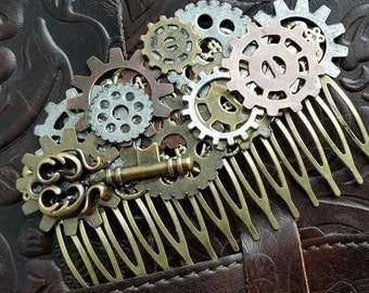 Romantic steampunk inspired hair comb featuring a statement Victorian key – bronze, copper and silver gears