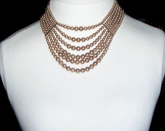 Multi Strand Pearl Bib Necklace / Champagne Brown / 6 Graduated Strands / Images Don't Do It Justice