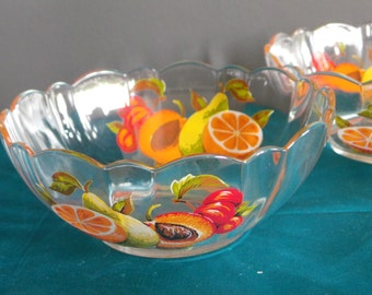 Vintage french glass - pair of fruity fruit dishes