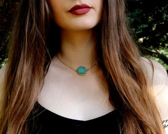 Turquoise Geode Druzy Choker Necklace Gold