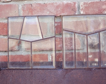 Beveled stained leaded glass set of 3 windows parts panels 1900 glass decorative window