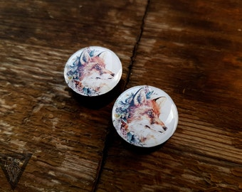 Buy2get3 vintage fox ear wooden plugs ,4,5,6,8,10,11,12,14,16,18,20,22-60mm;6g,4g,2g,0g,00g;1/4,5/16,3/8,7/16,1/2,9/16,5/8,3/4,7/8,1,1 1/4""