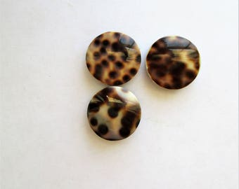 Leopard Print Focal Beads, Leopard Focals, Round Leopard Print Beads, Round Poly Focals, Leopard Focals, 20mm, lot of 3