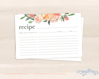Floral Recipe Cards Printable 4x6 Recipe Card Template Kitchen Garden Summer Recipe Card Bridal Shower Printables Blush Rose Green Peach