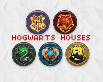 Hogwarts Crests - Gryffindor, Slytherin, Ravenclaw, Hufflepuff (Pin-Back Buttons)