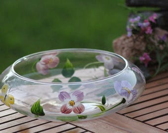 GLASS FLAOT BOWL, hand-painted butterflies and flowers, glass float vase