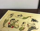 Traditional mermaid tattoo flash sheet print by Olivia Dawn A3 #3