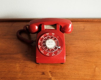 Mid Century Modern Vintage Telephone / Rotary Phone by Western Electric - Red Rotary Turn Dial Phone