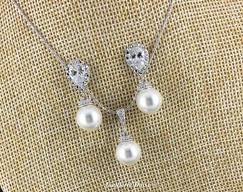 Wedding Jewelry, Swarovski Pearl Necklace, Swarovski Jewelry, Bridal Jewelry Set, Bridesmaids Gift, Bridesmaid Jewelry, Pearl Jewelry