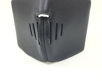 """Leather Riding Mask, Black with Cushioned Lining, One Size fits Most. 20"""" Diameter from Bridge to Back."""