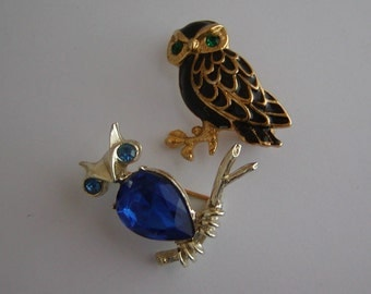 Pair of Vintage Owl Brooches / Black Enamel On Gold and Blue Rhinestones on Silver