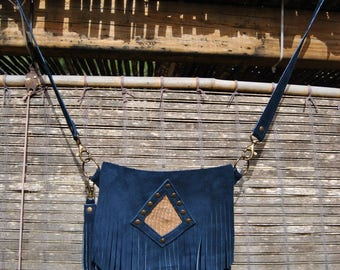 Handmade NUBA leather fringed bag