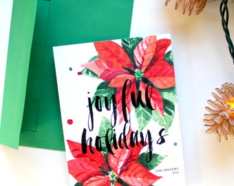 Holiday Card - 5x7 - Watercolor Poinsettias - Joyful Holidays - Printable and Personalized