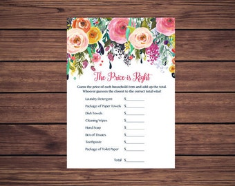 Price is Right Bridal Shower Game, The Price is Right Bridal Shower Game Navy and Pink Floral Flowers Instant Download Printable  201