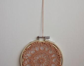 FLOWER BURST - Copper Crochet Doily Embroidery Hoop - Copper Crochet Suncatcher - Doily Embroidery Hoop - Crochet Decor - Crochet Suncatcher