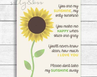 Mother's Day, You Are My Sunshine, Nursery Wall Art, Sunshine Wall Art, DIGITAL FILE ONLY