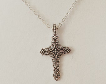 Filigree cross necklace, antique cross necklace, cross pendant, antique pendant, antique jewelry, religious necklace, silver necklace chain