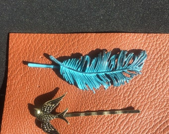 Feather and Bird Bobby Pins Verdigris Patina feather Hair Accessories Teal Blue Feather and Bird Rustic Green Brass Woodland Nature Bird