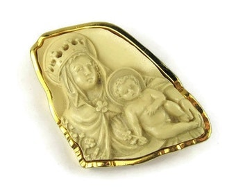 Catholic Cameo Brooch