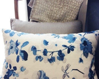 Blue, Gray and White floral throw pillow, 14x20