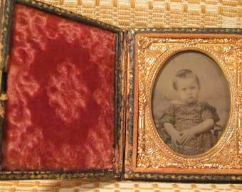 Antique Ambrotype 'Little Girl' 6th Plate Cased Photograph