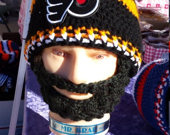 Philadelphia Flyers Bearded Beanie,Customize Philadelphia Flyers Beanie Any Size,Any Color,Velcro Both Sides Beard & Beanie,Gift