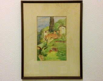 MCM Framed Watercolor Signed Gianni Rossi 1940s Italian Countryside Post Impressionism Original Painting MCM Watercolor