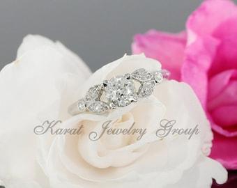 Antique 0.62ct Old European Cut Diamond Engagement Ring in Platinum with Milgrain, Vintage Wedding Ring, Old European Diamond EGL Certified